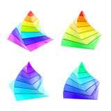 Set of four colorful segmented pyramid isolated Royalty Free Stock Photos