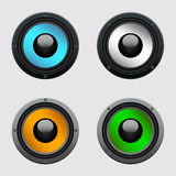 Set of four colorful speakers Stock Photos
