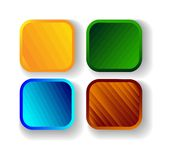 Set of four colorful square banners. Vector. Set of four colorful square banners. For design in stores , operating systems,and web design stock illustration