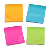 Set of four colorful vector blank post-it notes for your note or Stock Photos