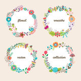 Set of four colorful vector floral wreaths Stock Photo