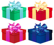 Set of four colorful vector gift boxes Isolated On Stock Photos