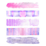 Set of four colorful watercolor stroke backgrounds Royalty Free Stock Photography