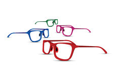 Set of four colourful glasses Royalty Free Stock Image