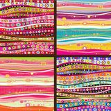 Set of four colourful line background. Royalty Free Stock Image
