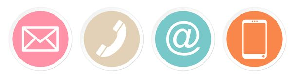 Set Of Four Buttons Contact Retro Color White Frame vector illustration