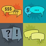 Set of four communication speech bubbles on colorful backgrounds. Vector illustration Royalty Free Stock Photography