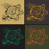 Set of four contoured abstract flowers Royalty Free Stock Photo