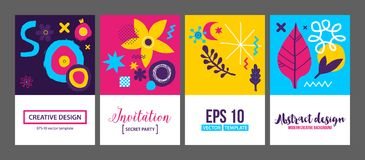 Set of four creative backgrounds templates with abstract hand drawn elements. Can be used for advertising and graphic design. Set of four creative backgrounds Royalty Free Stock Photography