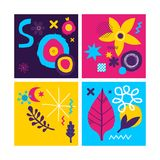 Set of four creative backgrounds templates with abstract hand drawn elements. Can be used for advertising and graphic design. Set of four creative backgrounds Stock Photography