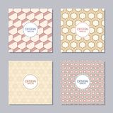 Set of four creative covers with abstract geometric pattern of hexagons. Stock Photography