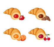 Set of four croissants. Vector illustration. Vector set of four croissants with strawberry, chocolate, peach and raspberry filling  on a white background Royalty Free Stock Image