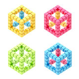 Set of four cube compositions isolated Royalty Free Stock Photos