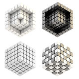 Set of four cube compositions isolated. Set of four glossy abstract cube compositions isolated on white Stock Image