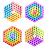 Set of four cube compositions isolated. Set of four colorful glossy abstract cube compositions isolated on white Stock Image