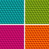 Set of four cube patterns. Collection of different abstract patterns. vector illustration
