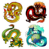 Set four cunning Asian color dragon. Set of four Asian east dragons of different flowers and elements on the Chinese horoscope. Cunning yellow earth monster Royalty Free Stock Photos