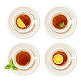 Set of four cups of tea. Vector illustration. Royalty Free Stock Image