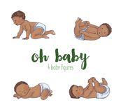 Set of four cute african babies vector illustration