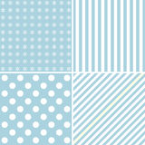 Set of four cute backgrounds in blue colors Stock Images