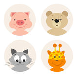 Set of four cute cartoon animal character Stock Image