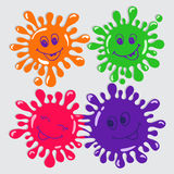 Set of four cute cartoon blots with smile Royalty Free Stock Photography
