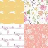 Set of Four Cute Easter Seamless Patterns Royalty Free Stock Image