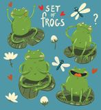 Set of four cute frogs hand-draw in cartoon style vector illustration