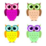 Set of four cute funny colorful owls isolated. royalty free illustration