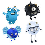 Set of four cute furry monster  Stock Images