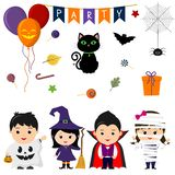 Set of four cute kids in costumes for Halloween, elements, objects and icons for your design in cartoon style, isolated on white b. Ackground. Vector, flat style vector illustration