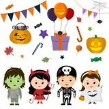 Set of four cute kids in costumes for Halloween, elements, objects and icons for your design in cartoon style, isolated on white b. Ackground. Vector, flat style stock illustration