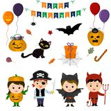 Set of four cute kids in costumes for Halloween, elements, objects and icons for your design in cartoon style, isolated on white b. Ackground. Vector, flat style royalty free illustration