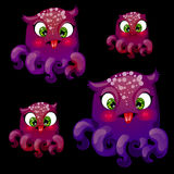 Set of four cute playful purple octopus. Vector set of four cute playful purple octopus royalty free illustration