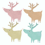 Set of four cute reindeers in gentle vintage style Royalty Free Stock Photography