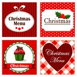 Set of four cute retro christmas invitation cards, Stock Photo