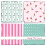 Set of four cute retro patterns in shabby chic style. For your decoration vector illustration