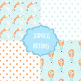 Set of four cute seamless patterns Stock Image