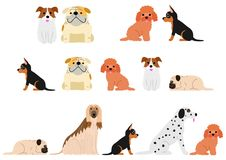 Cute dogs border set2. Set of four cute small dogs borders vector illustration
