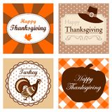 Set of four cute Thanksgiving cards invitations. V Stock Photos