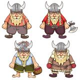 Set of four cute Vikings Stock Images
