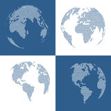 Set of four 3d dotted globes Royalty Free Stock Photos