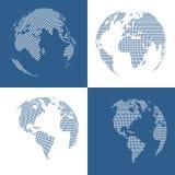 Set of four 3d dotted globes. Vector illustration vector illustration