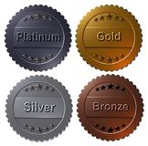 Set of 4 medals Paltinum, Gold, Silver, Bronze. Set of four 3D rendered medals, platinum gold silver and bronze. Winner metallic badges, seals or buttons stock illustration