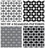Set of four 3d seamless patterns with different geometric elements of black, grey and white shades Stock Photos