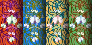 Four 3D vector banners with hand-drawn floral ornament royalty free illustration