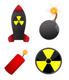Set of four dangerous lelements. Isolated on the white Stock Photos