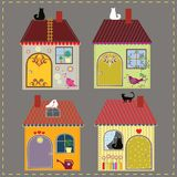 Set of four decorative houses Royalty Free Stock Images