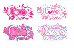 Set of four decorative love lettering Royalty Free Stock Photography
