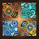 Set of four decorative ornamental ethnic cards. Royalty Free Stock Photos